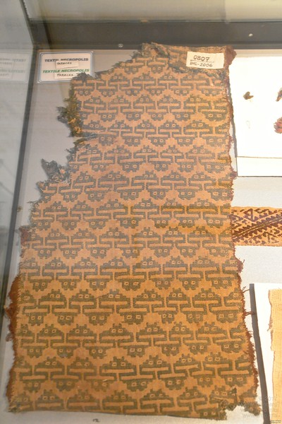 Not quite ancient aliens but at least ancient Space Invaders! Textile, at least some hundred years old from an excavation in Parascas. Paracas History Museum.