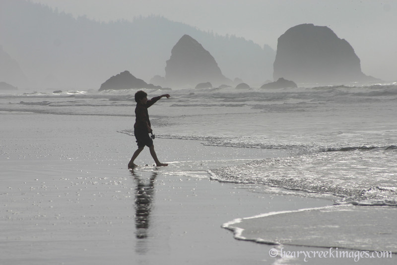 Throwing Sand - Tolovana State Park, Oregon Coast