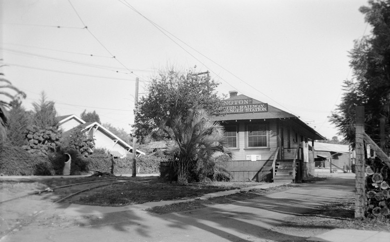 Pacific Electric Arlington Passenger and Freight Station. Photographer unknown.<br /> <br /> Raymond E Younghans Collection
