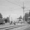 Pacific Electric 656 and 1000 at the Riverside carbarn at 1st street and Market Street in Riverside. The 1000 is chartered for a fan trip by the Railroad Boosters for the Excursion #11.<br /> <br /> Photographer unkown.<br /> Jeffrey Moreau Collection