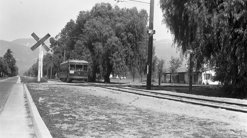Pacific Electric 101 at Mountain View Ave at Arrowhead Station in San Bernardino during November of 1937.  Today this is site is located at the corner of Mountain View Ave and 30th St.<br /> <br /> Photographer Ernest M Leo