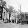 Pacific Electric 021 on the Old Mission-Balloon Route Trolley Trip stops to unload sight seers at Mission San Gabriel Mission.<br /> <br /> Photographer Unknown<br /> Jeffrey Moreau Collection