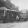 Pacific Electric 252 and 264 on the Monrovia Line Meet at Arcadia on St Joseph St.  <br /> <br /> Jeffrey Moreau Collection