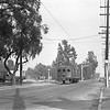 Pacific Electric 1466 inbound to Los Angeles on Monrovia-Glendora Line on St Joseph St in Arcadia circa 1946. Behind the photographer is Arcadia Tower where 1466 will cross the Santa Fe Second District.<br /> <br /> Photographer James Spencer