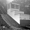 After of abandonment of the Mt Lowe Line, incline car number 1 sits forlornly at the bottom of the incline at Rubio Canyon on April 29, 1939.<br /> <br /> Photographer Harold F Stewart