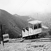 Incline Cars Rubio and Echo pass each other at the half-way point of the great incline in this official Pacific Electric photograph.<br /> <br /> Jeffrey Moreau Collection