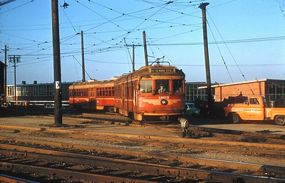 Los Angeles Metropolitan Transit Authority 1803 and 1804 pull out of the Watts Car House yard on September 10, 1958 and will run as an inbound Watts Local to 6th &b Main St Station.  Photographer P Alllen Copeland Catalog Number 00068243