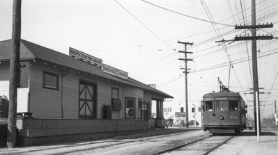 Pacific Electric 112 at the East Long Beach Station on January 21, 1940.   Photographer Ralph Melching