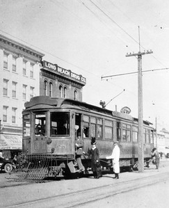 """Pacific Electric deluxe car 025 is seen on Ocean Boulevard in Long Beach with the """"Triangle Trolley Trip"""" circa 1912.  Photographer Unknown Jeffrey Moreau Collection"""