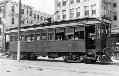 Pacific Electric 467 lays-over on Ocean Avenue in Long Beach near the Pacific Electric station.  Photographer Unknown, Jeffrey J Moreau Collection