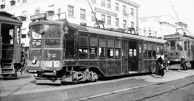 Pacific Electric 72 awaits its next assignment at the Pacific Electric Long Beach station at Ocean Avenue and Pacific Avenue circa 1921.  Photographer Unknown Jeffrey Moreau Collection