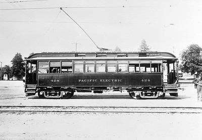 Pacific Electric 424 idles at the Redondo Beach yard while assigned to the Hawthorne-Redondo Line.  Photgrapher Unknown Jeffrey J Moreau Collection