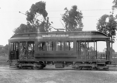 Pacific Electric 110, still wearing its original paint scheme as Los Angeles & Pacific 32, is seen on the La Rambla Line in San Pedro at 14th and Beacon Streets circa 1912.  Photographer Unknown Southern California Railway Museum Collection