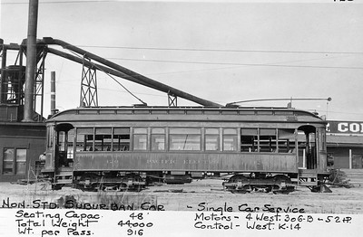 Pacific Electric 420 operates the San Pedro-Hermosillo Shuttle in San Pedro. 420 was previously owned by the Los Angeles & Redondo Railway.  Photographer Unknown, Jeffrey J Moreau Collection
