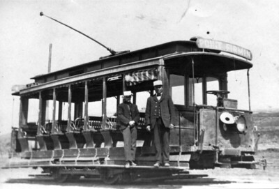 An unidentified car of the 10-17 class is seen on the Point Fermin Line in 1907.  Photographer Unknown Dave Slipher Collection
