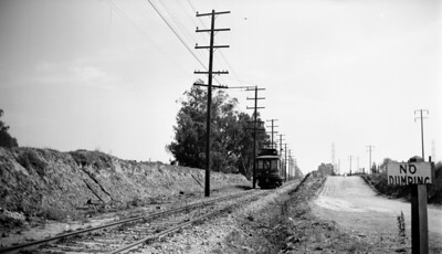 Pacific Electric 00159 La Habra Line west bound near and Slauson Avenue & Gage Avenue on November 2, 1947 . Photographer Unknown, Raymond E Younghans Collection