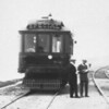 "A closer ""zoomed in"" view of Pacific Electric deluxe car 02 is seen in southbound on the Redondo Beach via Playa Del Rey Line during a circa 1912 survey trip.<br /> <br /> Photographer Unknown<br /> Jeffrey Moreau Collection"