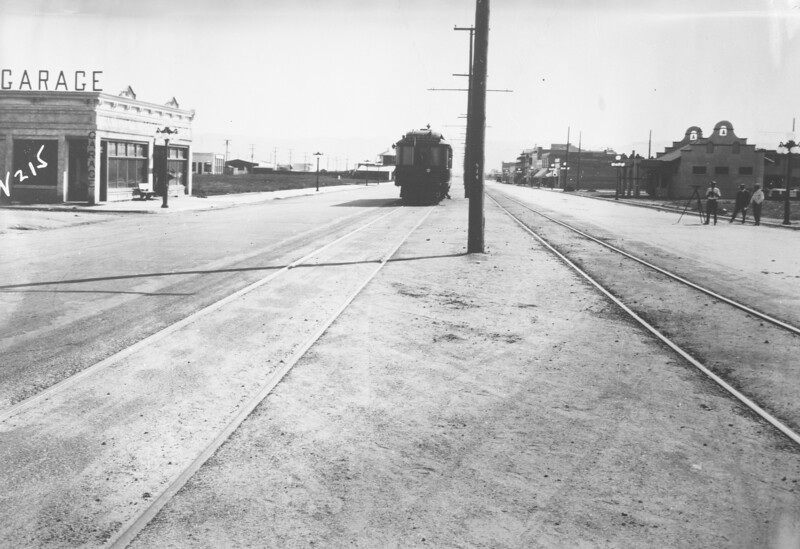 Pacific Electric deluxe car 02 is seen on a circa 1912 survey in Van Nuys on Van Nuys Boulevard while touring the San Fernando Valley Line.<br /> <br /> Photographer Unknown<br /> Jeffrey Moreau Collection