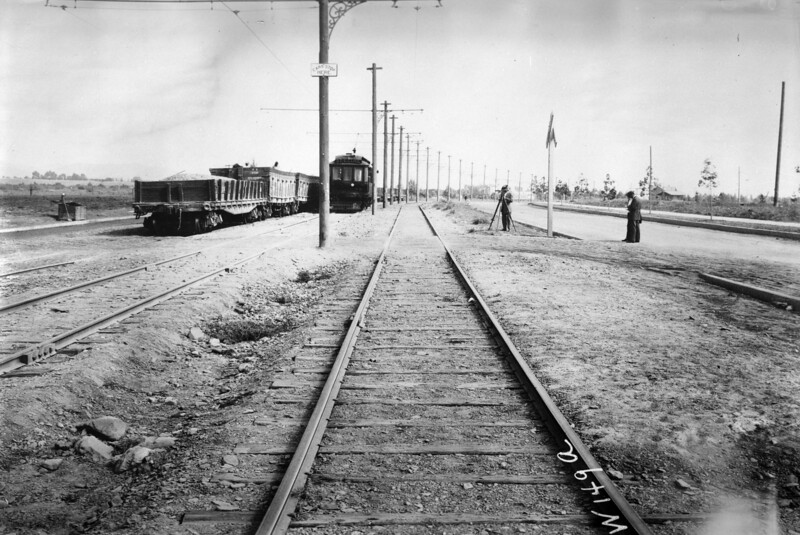 Pacific Electric 02 on the Brentwood Line along San Vicente Blvd during a circa 1912 survey trip.<br /> <br /> Photgrapher Unknown<br /> Jeffrey Moreau Collection