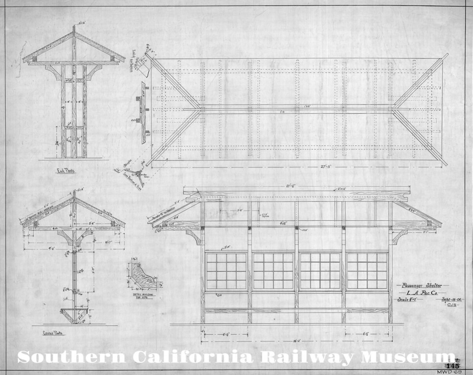 Los Angeles Pacific Trolleyway Waiting Shelter Drawing - 1906