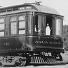 """A """"zoomed in"""" close up of Pacific Electric parlor car 010 """"Agua Mansa"""" on a circa 1913 survey trip on the Riverside-Arlington Line along Magnolia Avenue in Riverside.  <br /> <br /> Photographer Unknown<br /> Jeffrey Moreau Collection"""