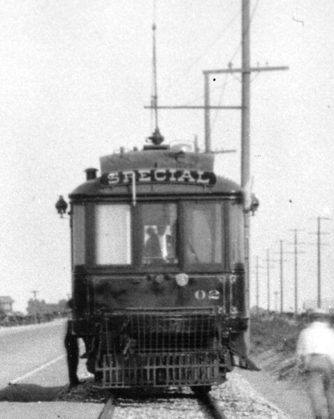 "A ""zoomed in"" view of Pacific Electric deluxe car 02 is seen on a circa 1912 survey in Owensmouth (later Canoga Park) on the San Fernando Valley LIne.<br /> <br /> Photographer Unknown<br /> Jeffrey Moreau Collection"