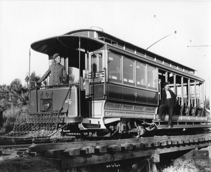 Redlands Steet Railway number 4 circa 1910. Location unknown.<br /> <br /> Jeffrey J Moreau Collection from the Collection of CW McLaughlin