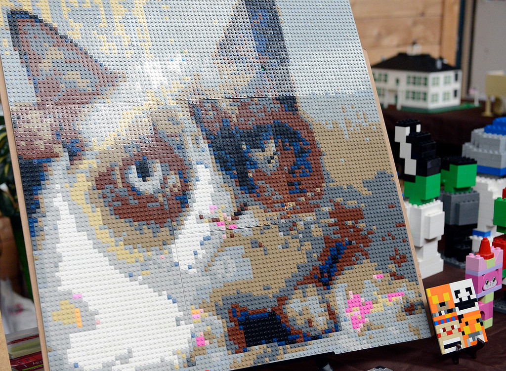. A picture of a cat that was built from LEGOs on display during the Pacific Grove Summer LEGO show inside the American Tin Cannery on Saturday July 2, 2016.  (David Royal - Monterey Herald)