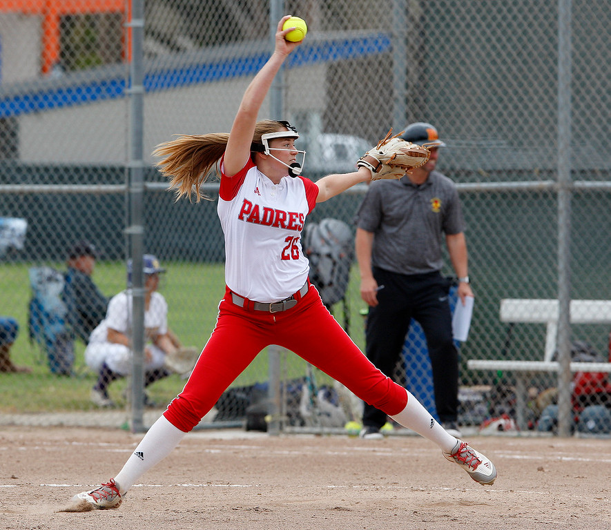 . Carmel High School\'s Jessica Pavloff (26) delivers a pitch during their game with Pacific Grove High School during their CCS DII softball game in Salinas on Saturday, May 19, 2018.  (Vern Fisher - Monterey Herald)