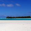 On Honeymoon island looking across at the Maina Motu were we had lunch on, Aitutaki Lagoon.