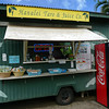 Our lunch stop at Hanalei on the north coast. Yummy Hawaiin pork sandwich and a mango & taro smoothy for lunch.