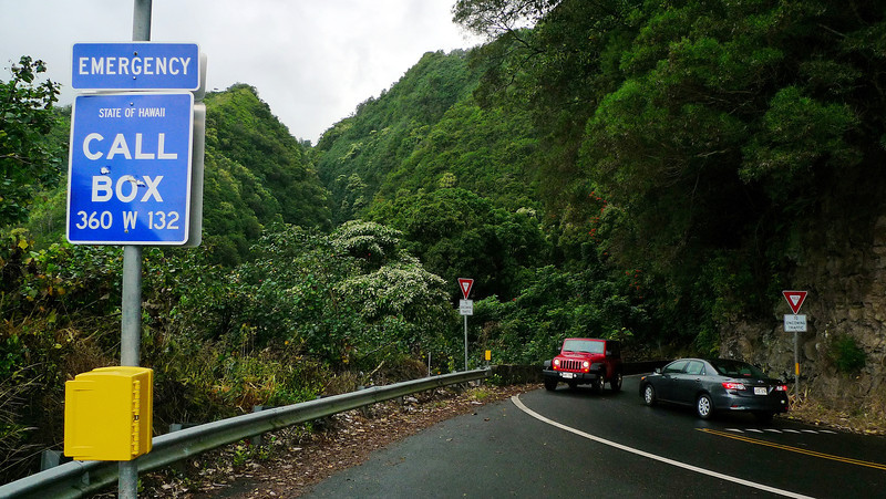 After leaving Haleakala we went down to the coast for lunch and then headed around the coastal road towards Hana. the road is narrow and winding and goes through a wet rainforest area. Very much like driving much of our coastline.