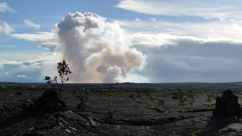 Looking across the caldera towards the main erupting crater on Mt. Kilauea.