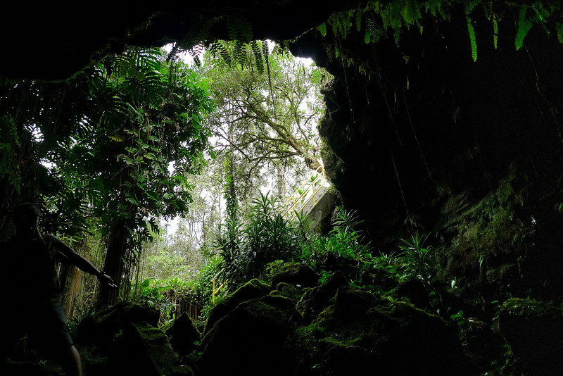 Kaumana Cave entrance from inside.