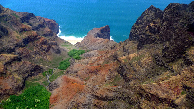 Napali Coast. You can make out part of the Kalalau Trail.