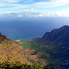 This is the view from the Pu'u o Kila Lookout of the Kalalau Valley which is about half way along the Napali Coast.