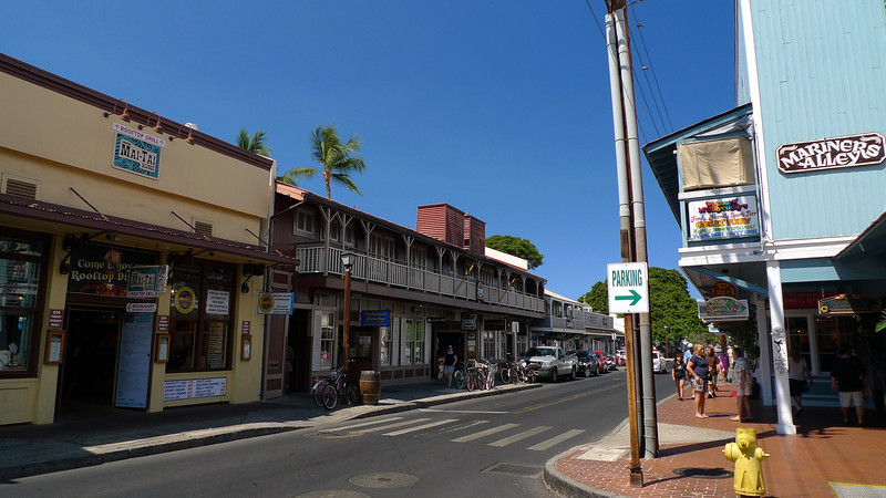 This is the main street of Lahaina which is the capital of Maui and was once the capital of Hawaii.The waterfront area is quite historic and attractive although now very touristy of course.