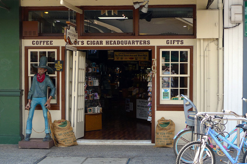 Yeeha cowboys, coffee and cigars. What more could you want. Lahaina main street. Called Front Street which makes sense.