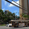 Downtown Waikiki with buses made to look like trams!