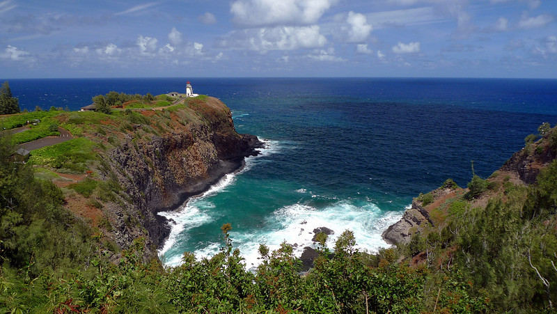 Ki'lauea Lighthouse and Crater Hill Bay on Kauai's northern coast. This area is a wildlife refuge.