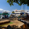 The waterfront in Lahaina complete with old canons and of course a parade of tour boats.
