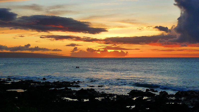Sunset over the bay from our resort at Napili.