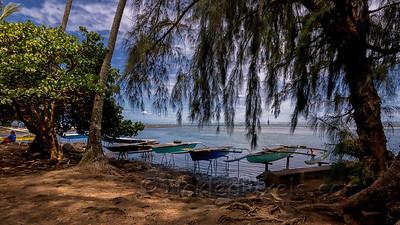 Outriggers at Point Venus, Tahiti
