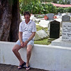 Brian at the old chuch graveyard in Avarua.