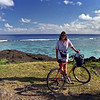 Robyn at Black Rock. We hired bikes for a couple of days to explore the island.