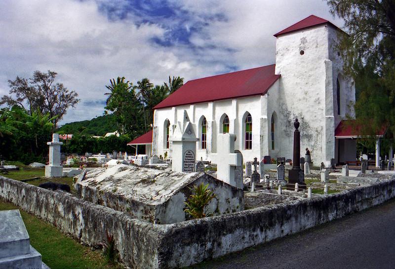 An old limestone church in Avarua.