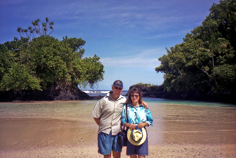 Russell and Robyn at Vava'u Beach on Upolo.