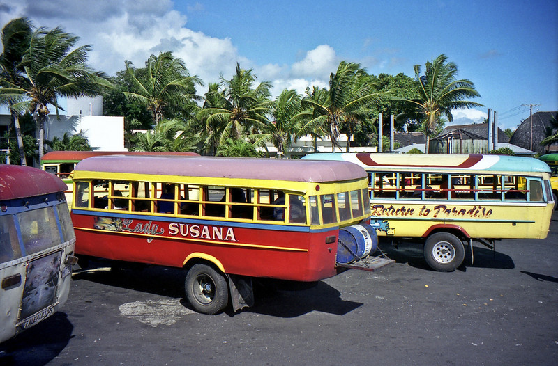 Local buses at the market in Apia.