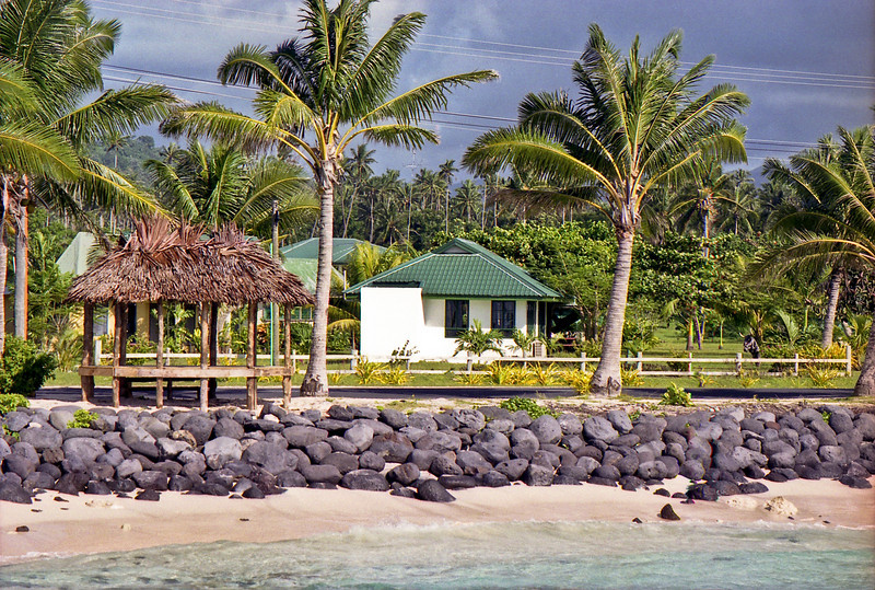 The beach and our unit at Si'ufaga on Savaii.