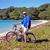 Russell on our cycle trip on Aore Island.
